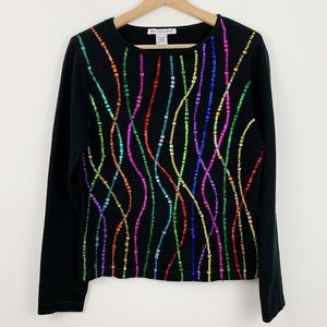 BellePoint Sequin Sweater M Black Confetti Rainbow